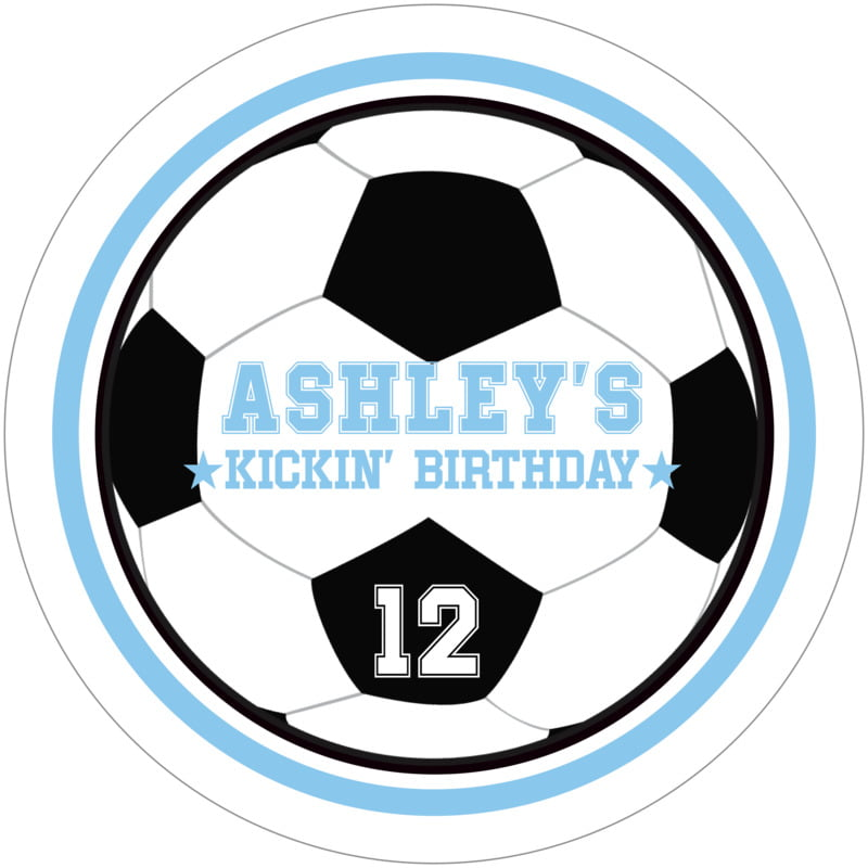 round beer coasters - light blue & white - soccer (set of 12)
