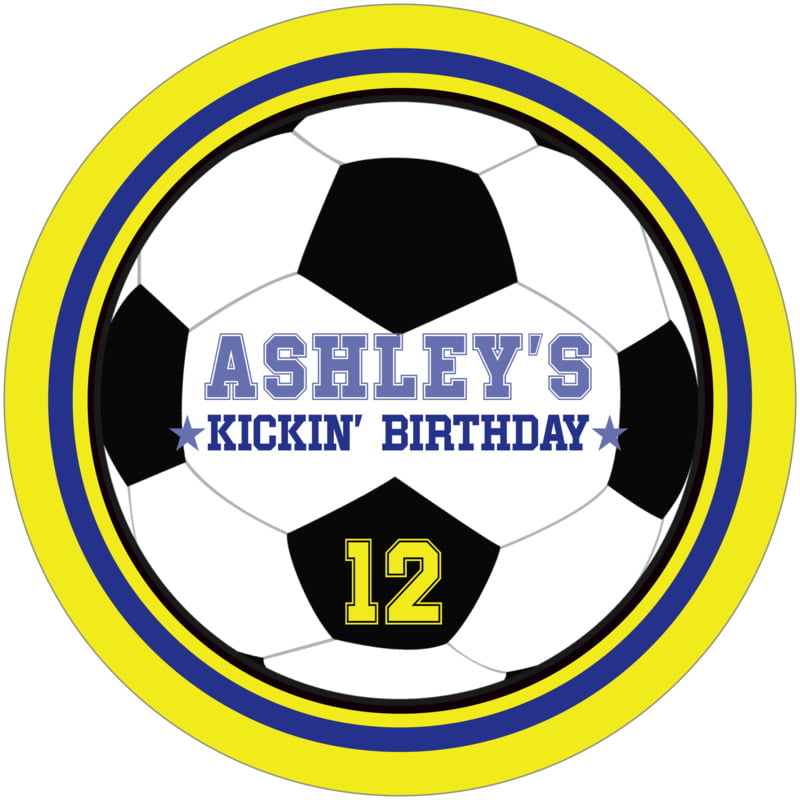round beer coasters - royal & yellow - soccer (set of 12)