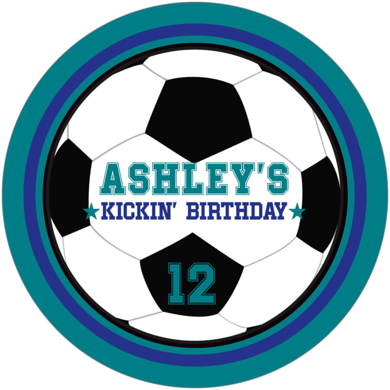 round beer coasters - royal & teal - soccer (set of 12)