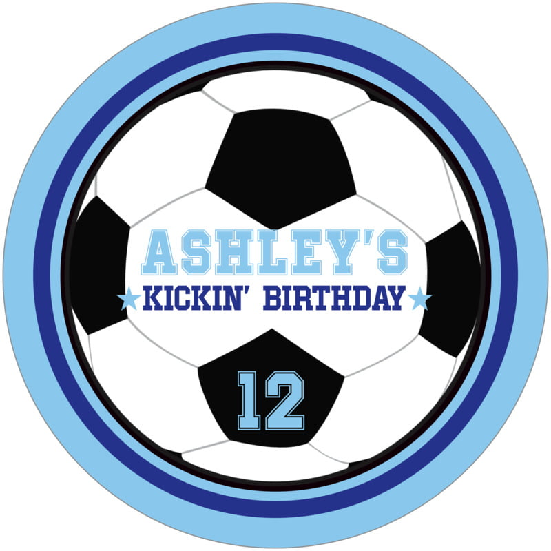 round beer coasters - royal & light blue - soccer (set of 12)