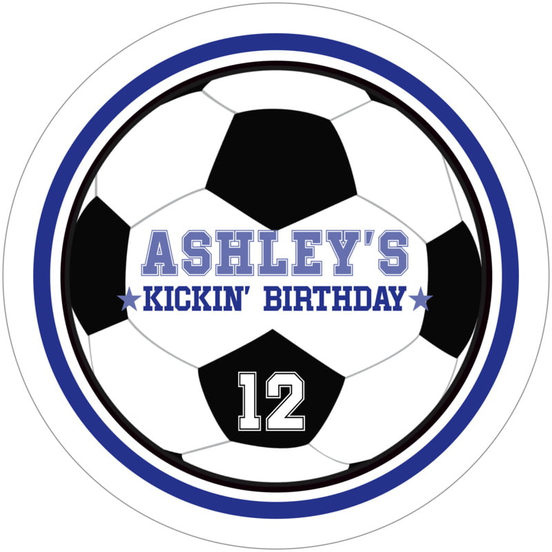 round beer coasters - royal & white - soccer (set of 12)