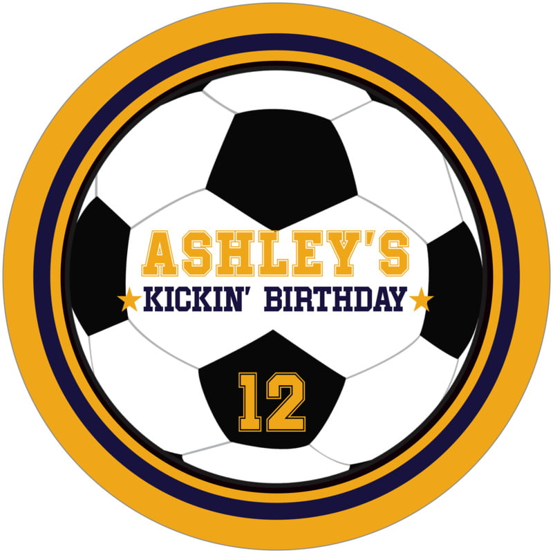 round beer coasters - navy & gold - soccer (set of 12)