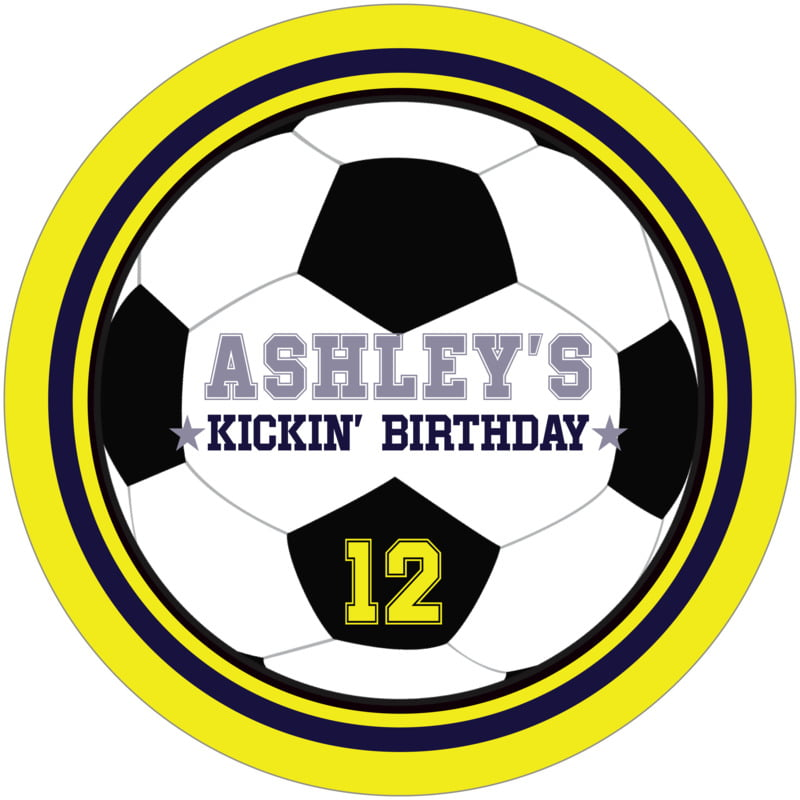 round beer coasters - navy & yellow - soccer (set of 12)