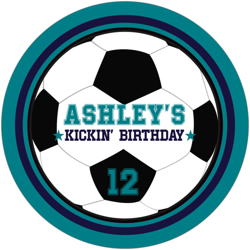 round beer coasters - navy & teal - soccer (set of 12)