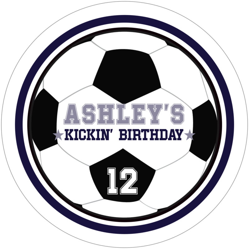 round beer coasters - navy & white - soccer (set of 12)
