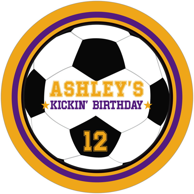round beer coasters - purple & gold - soccer (set of 12)