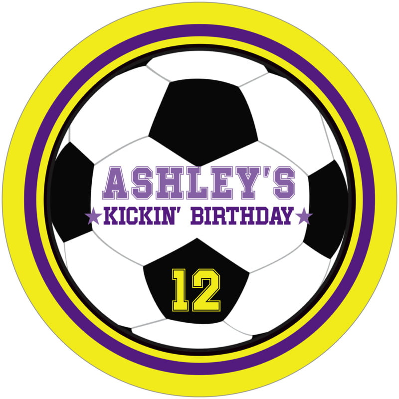 round beer coasters - purple & yellow - soccer (set of 12)