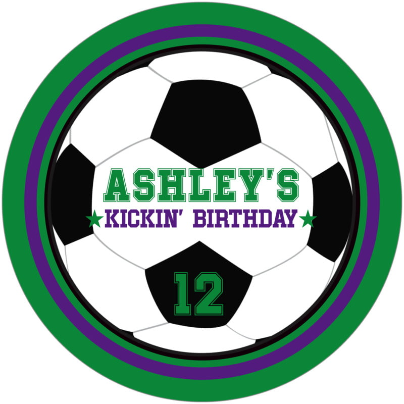 round beer coasters - purple & green - soccer (set of 12)
