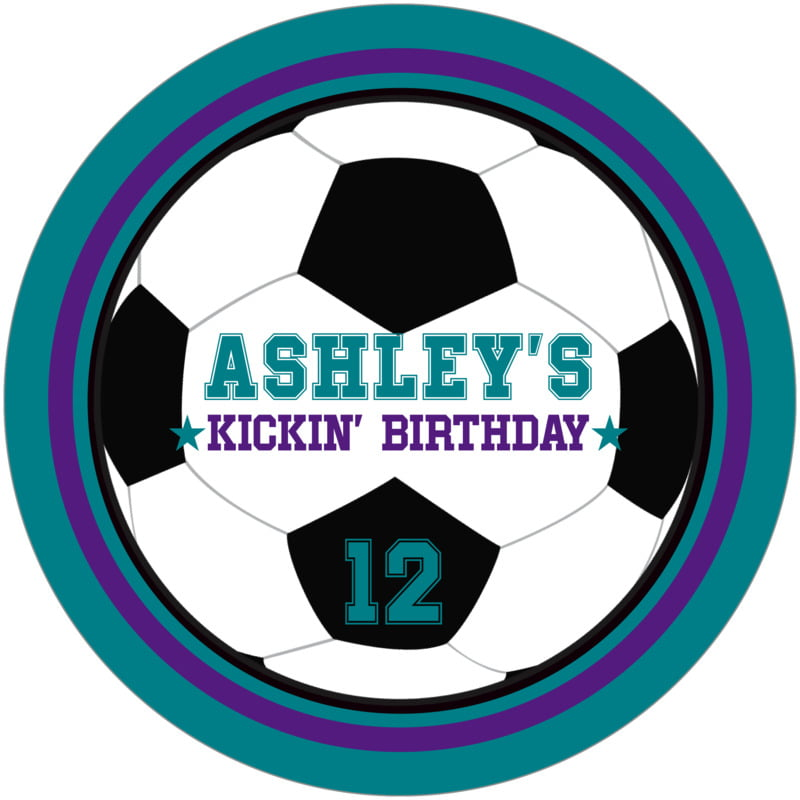 round beer coasters - purple & teal - soccer (set of 12)