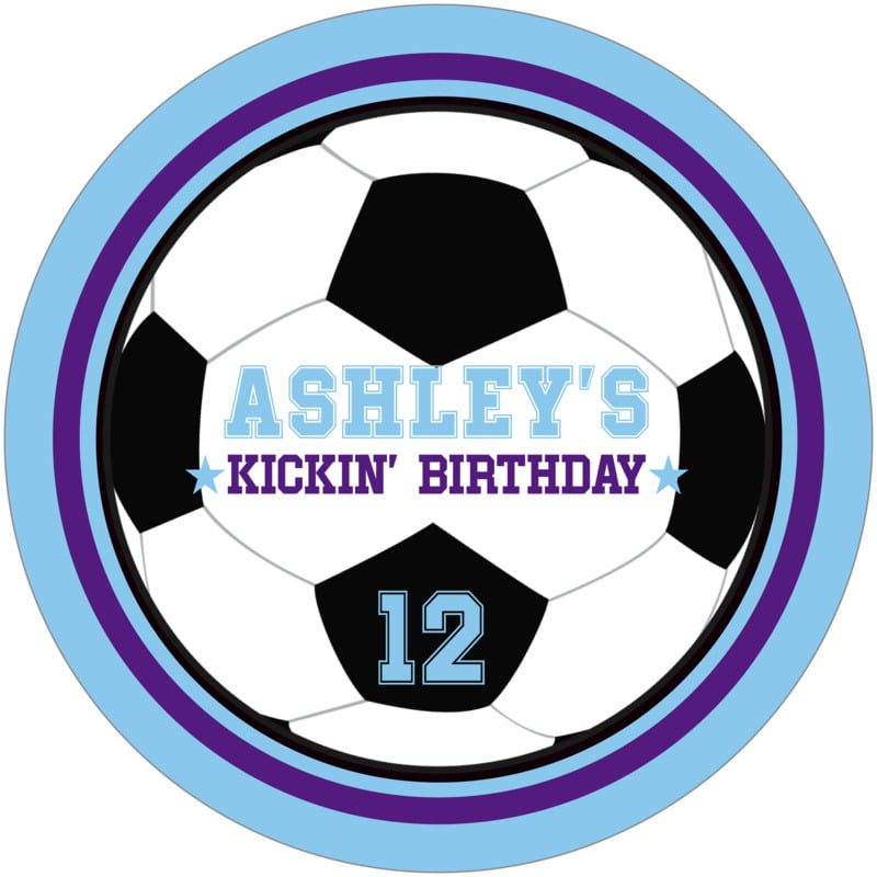 round beer coasters - purple & light blue - soccer (set of 12)