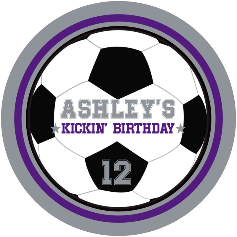 round beer coasters - purple & silver - soccer (set of 12)