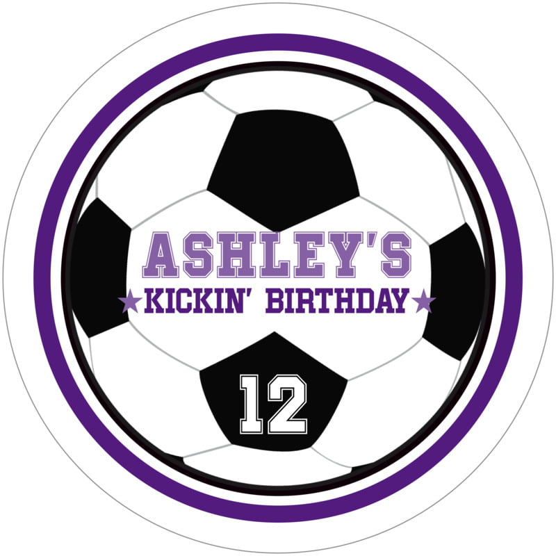 round beer coasters - purple & white - soccer (set of 12)