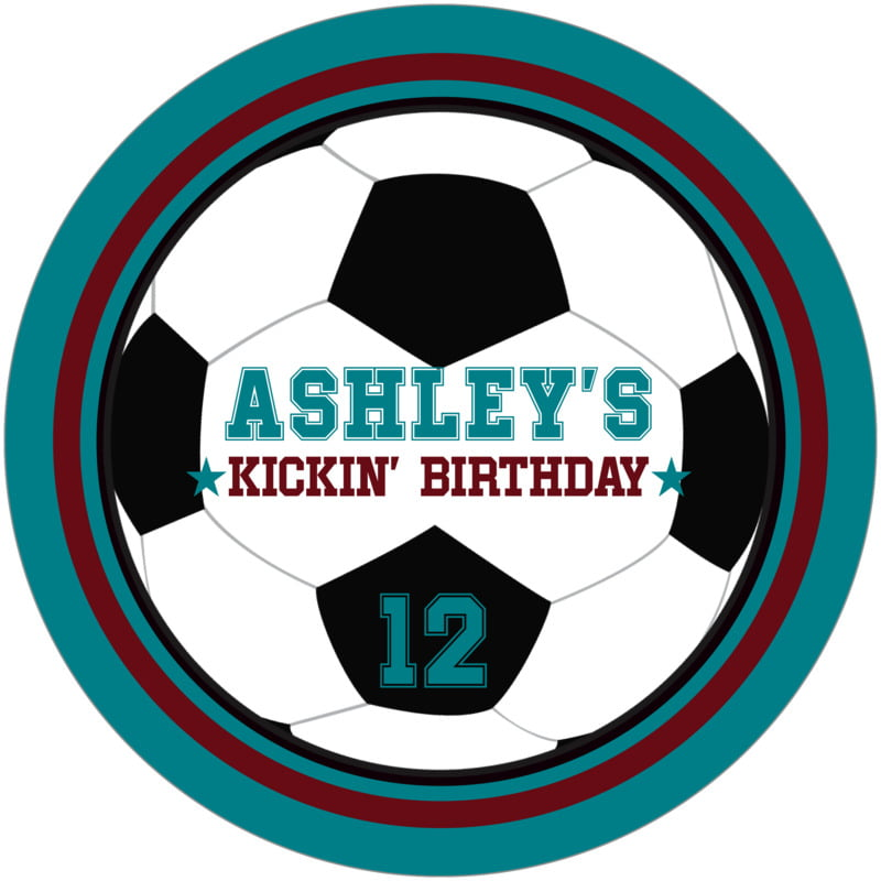 round beer coasters - maroon & teal - soccer (set of 12)
