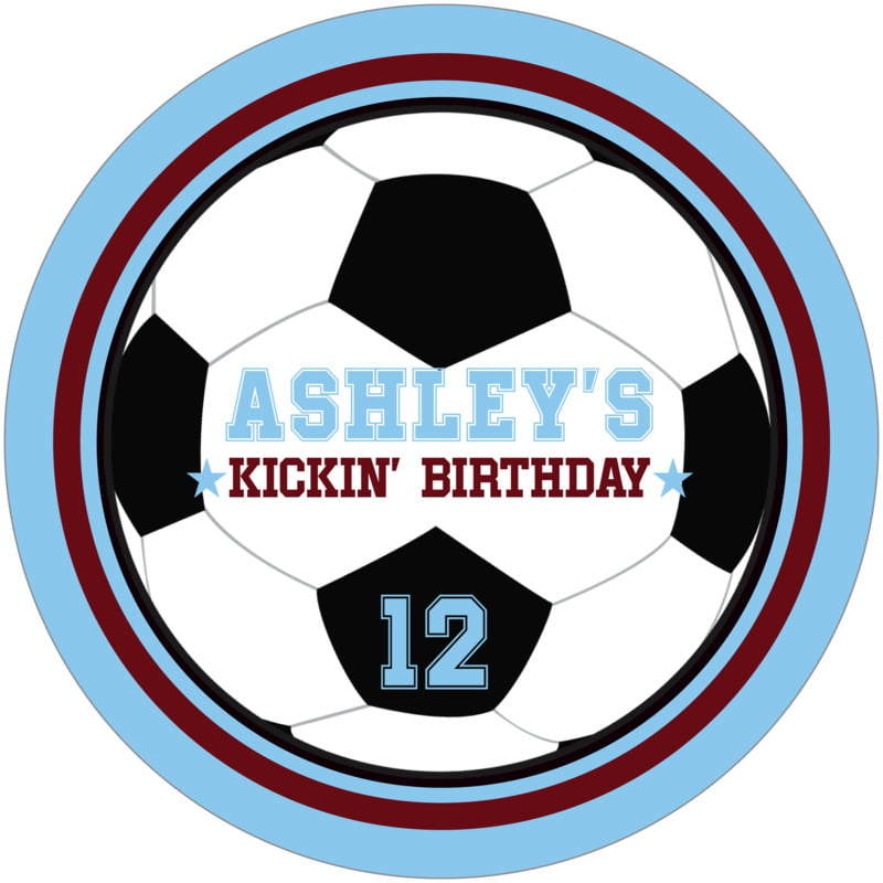 round beer coasters - maroon & light blue - soccer (set of 12)