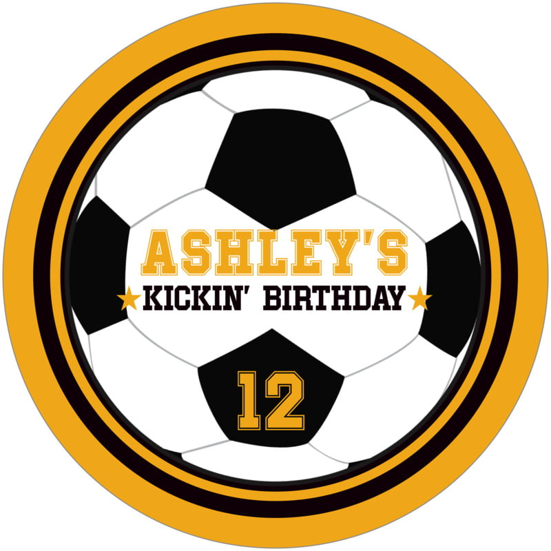 round beer coasters - black & gold - soccer (set of 12)