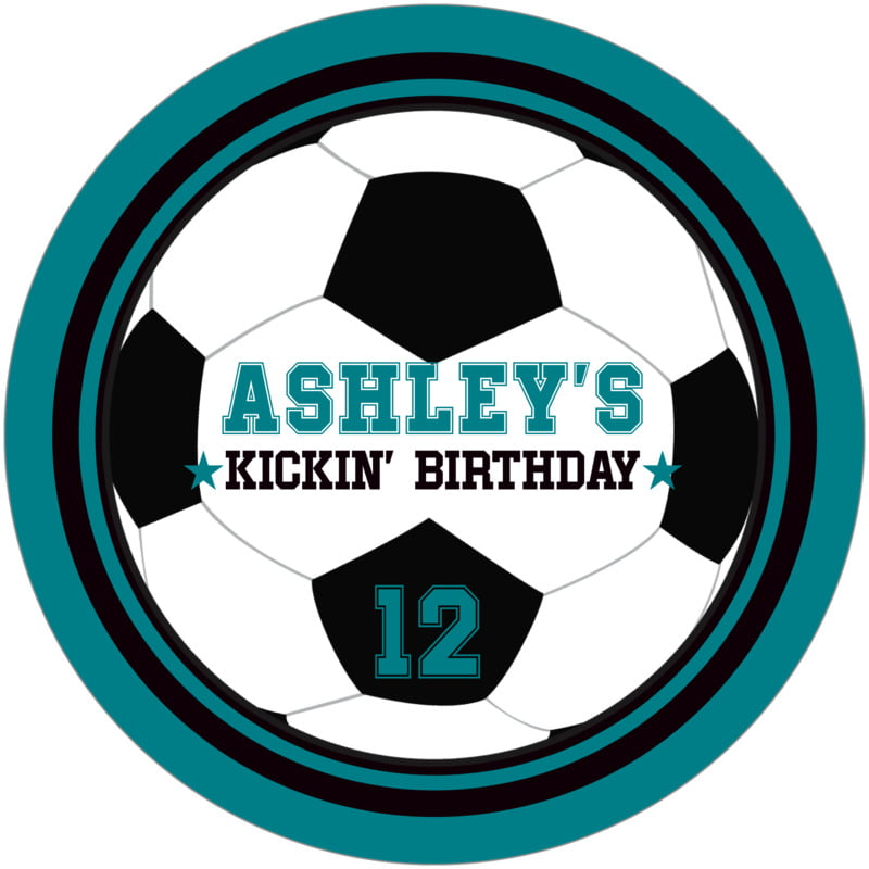 round beer coasters - black & teal - soccer (set of 12)