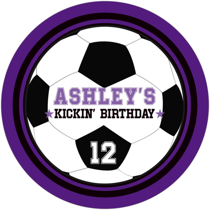 round beer coasters - black & purple - soccer (set of 12)