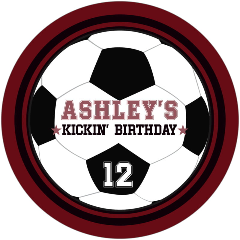 round beer coasters - black & maroon - soccer (set of 12)