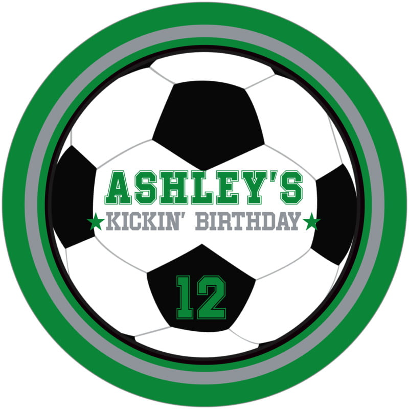 round beer coasters - silver & green - soccer (set of 12)
