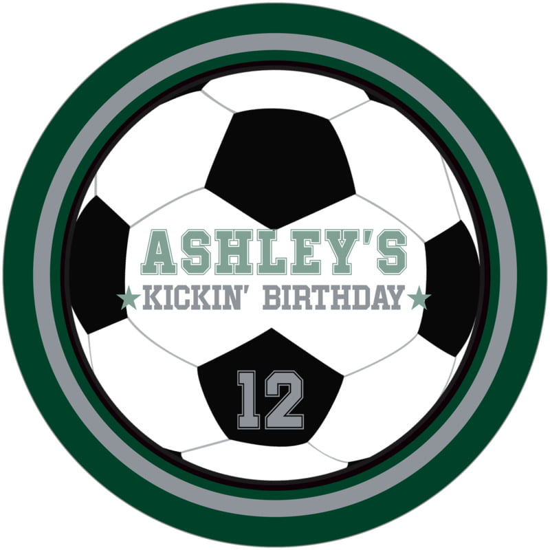 round beer coasters - silver & forest - soccer (set of 12)