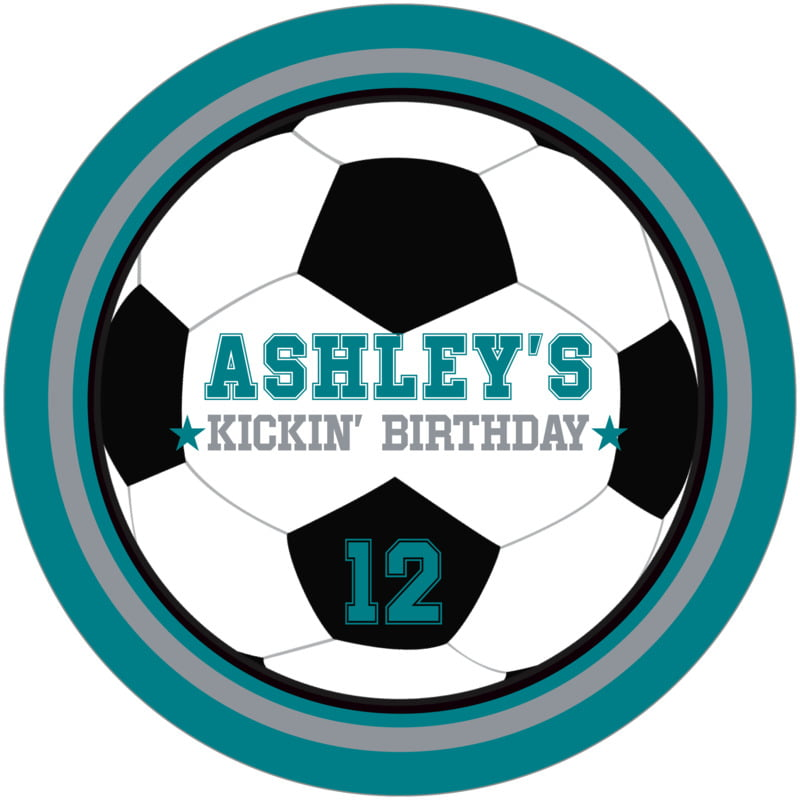 round beer coasters - silver & teal - soccer (set of 12)