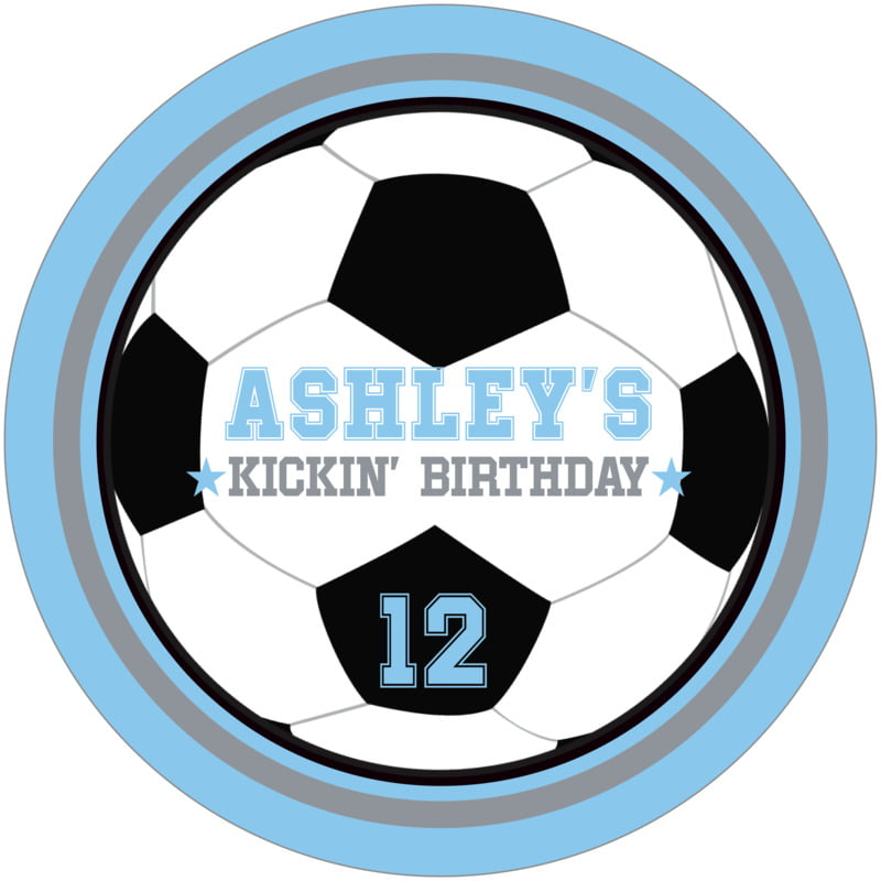 round beer coasters - silver & light blue - soccer (set of 12)