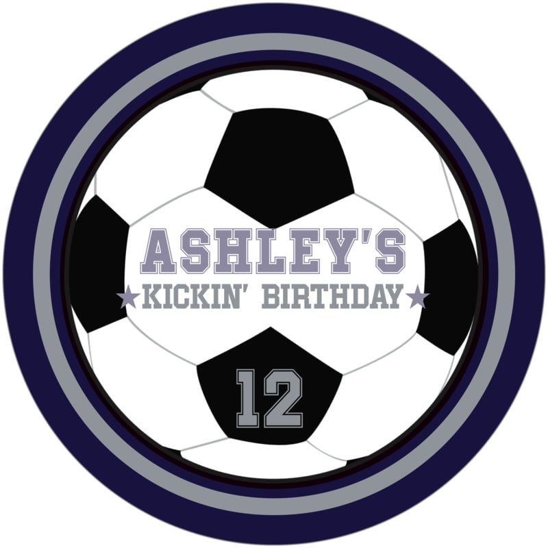 round beer coasters - silver & navy - soccer (set of 12)