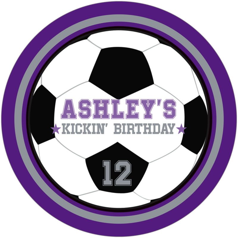round beer coasters - silver & purple - soccer (set of 12)