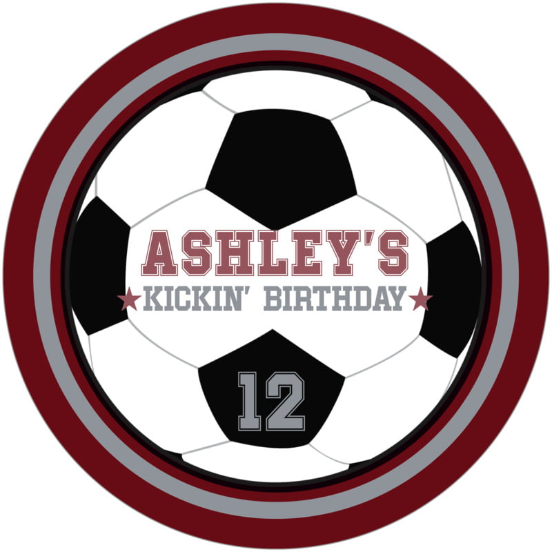 round beer coasters - silver & maroon - soccer (set of 12)