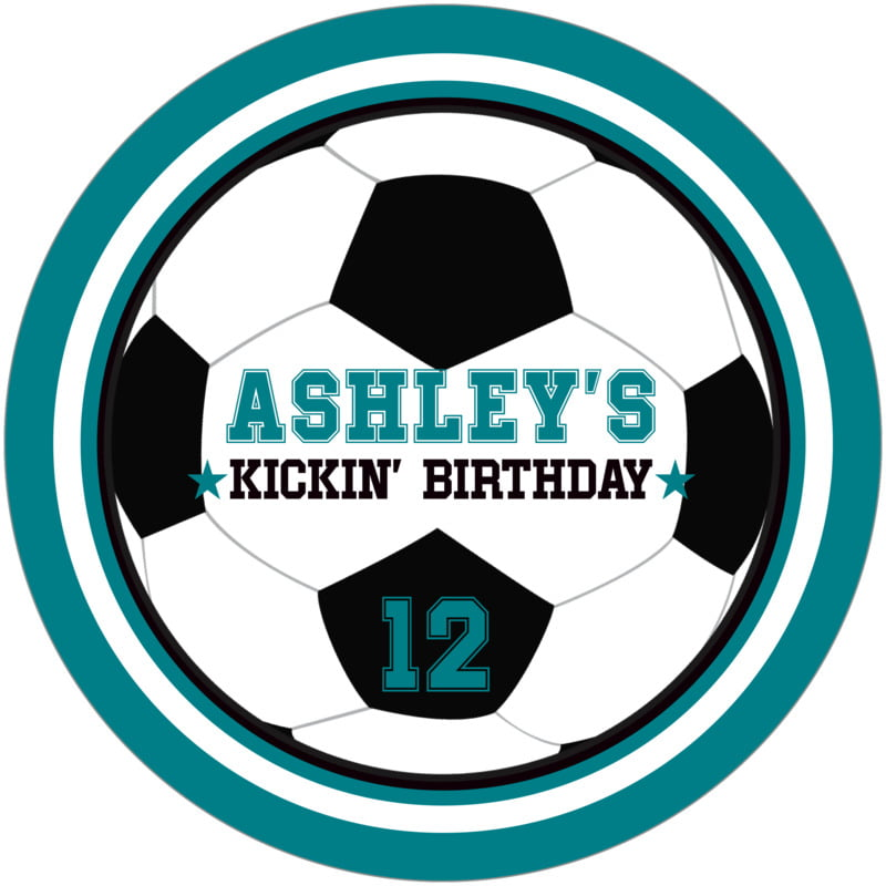 round beer coasters - white & teal - soccer (set of 12)