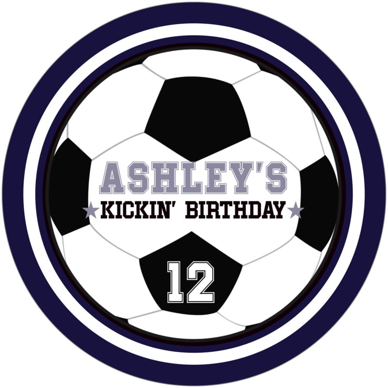 round beer coasters - white & navy - soccer (set of 12)