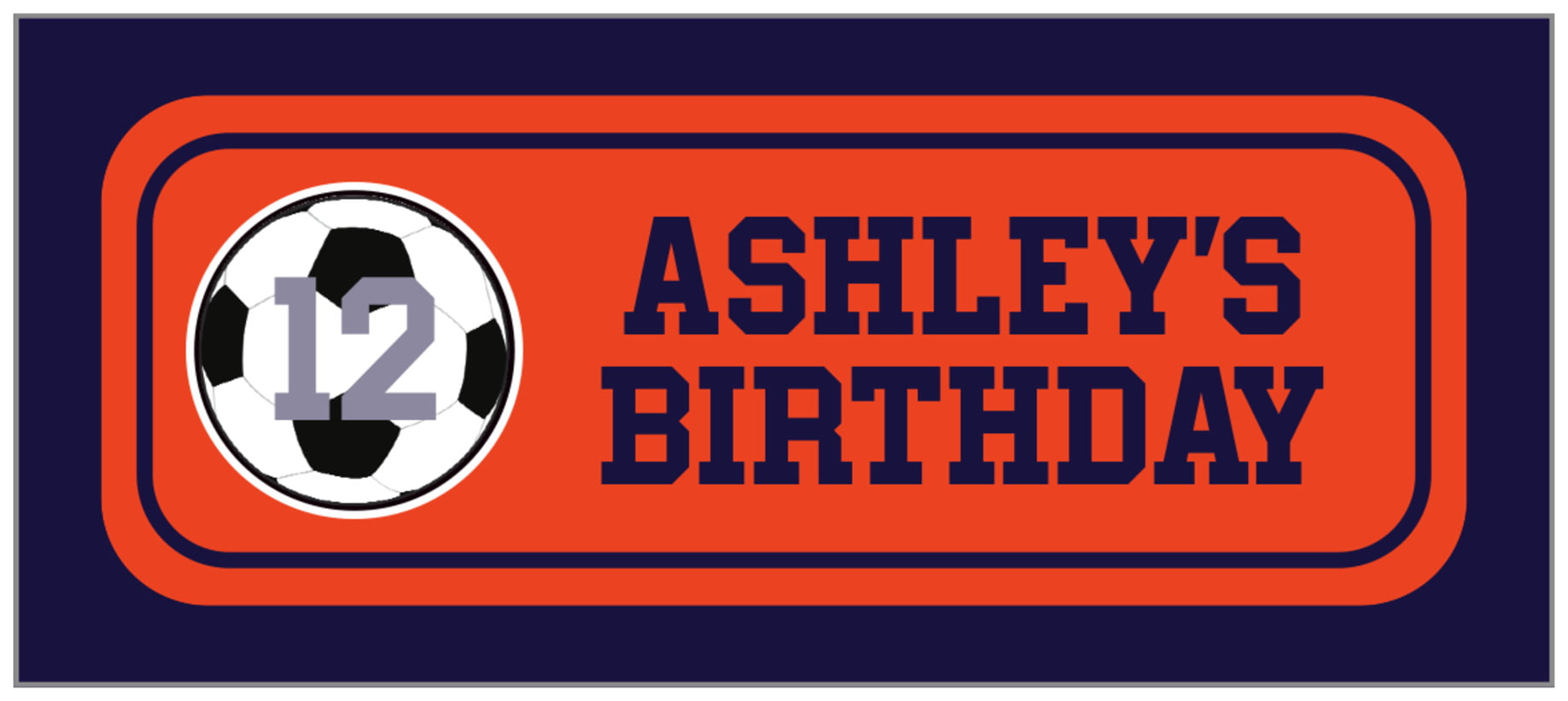 small rectangle food/craft labels - orange & navy - soccer (set of 24)