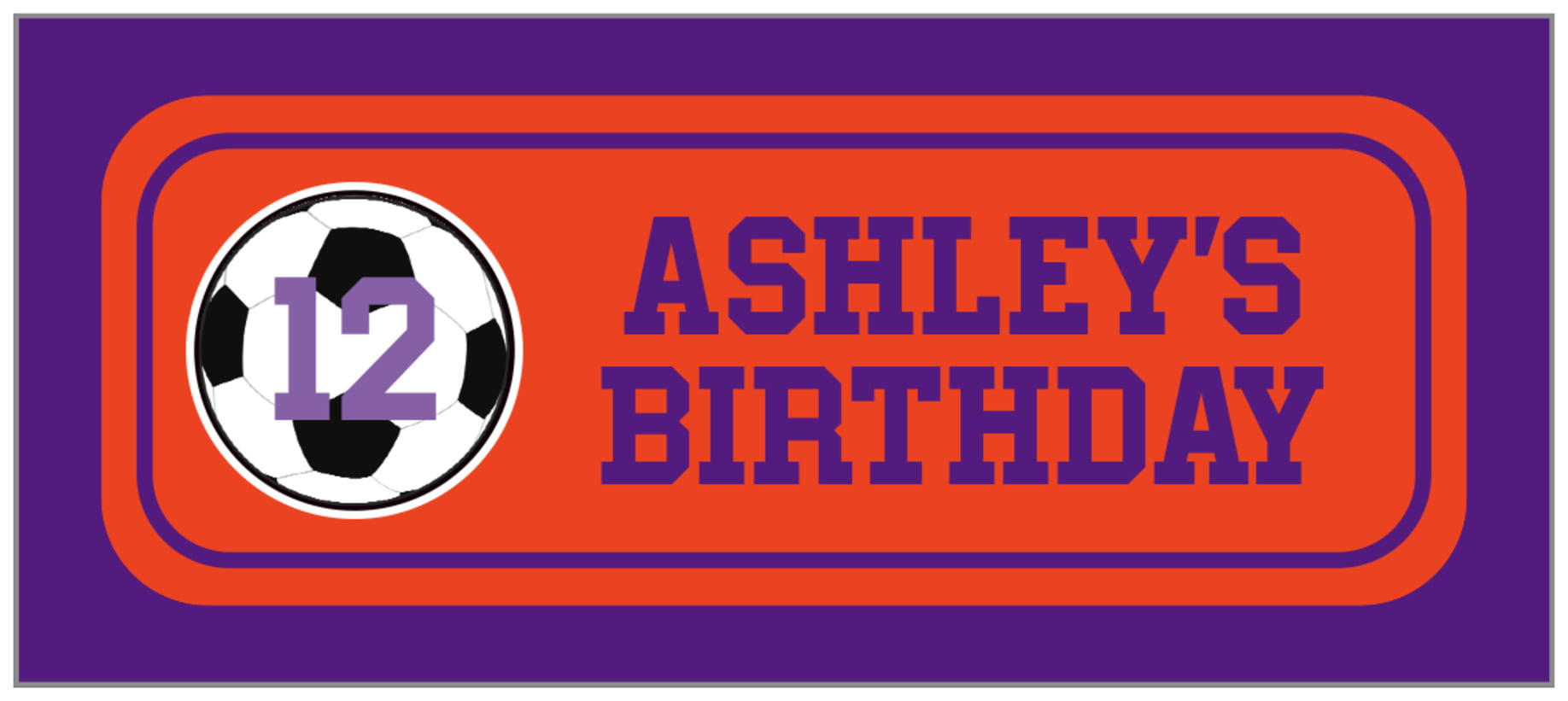 small rectangle food/craft labels - orange & purple - soccer (set of 24)