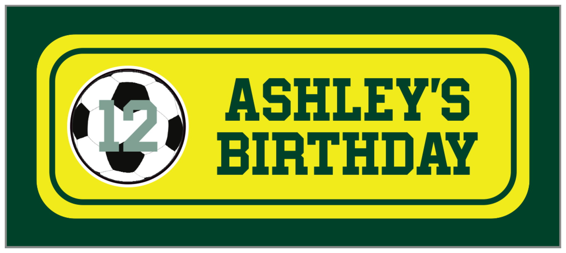 small rectangle food/craft labels - yellow & forest - soccer (set of 24)