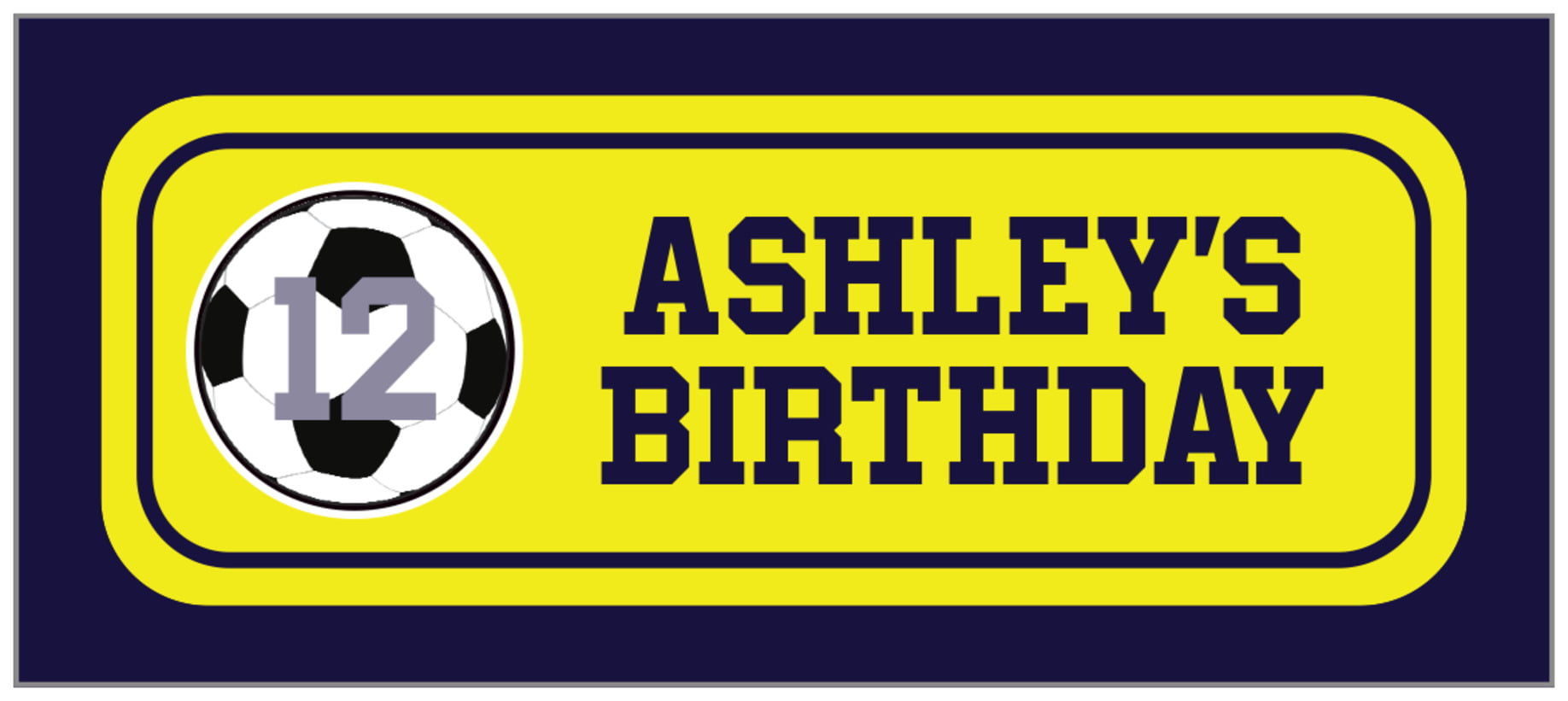 small rectangle food/craft labels - yellow & navy - soccer (set of 24)