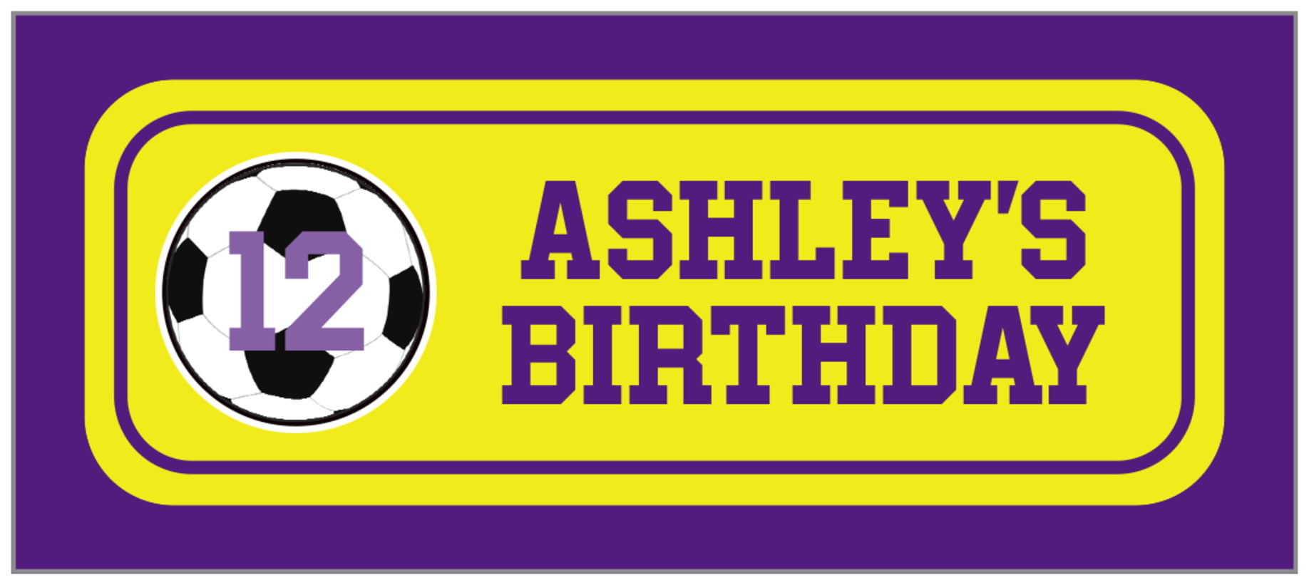 small rectangle food/craft labels - yellow & purple - soccer (set of 24)