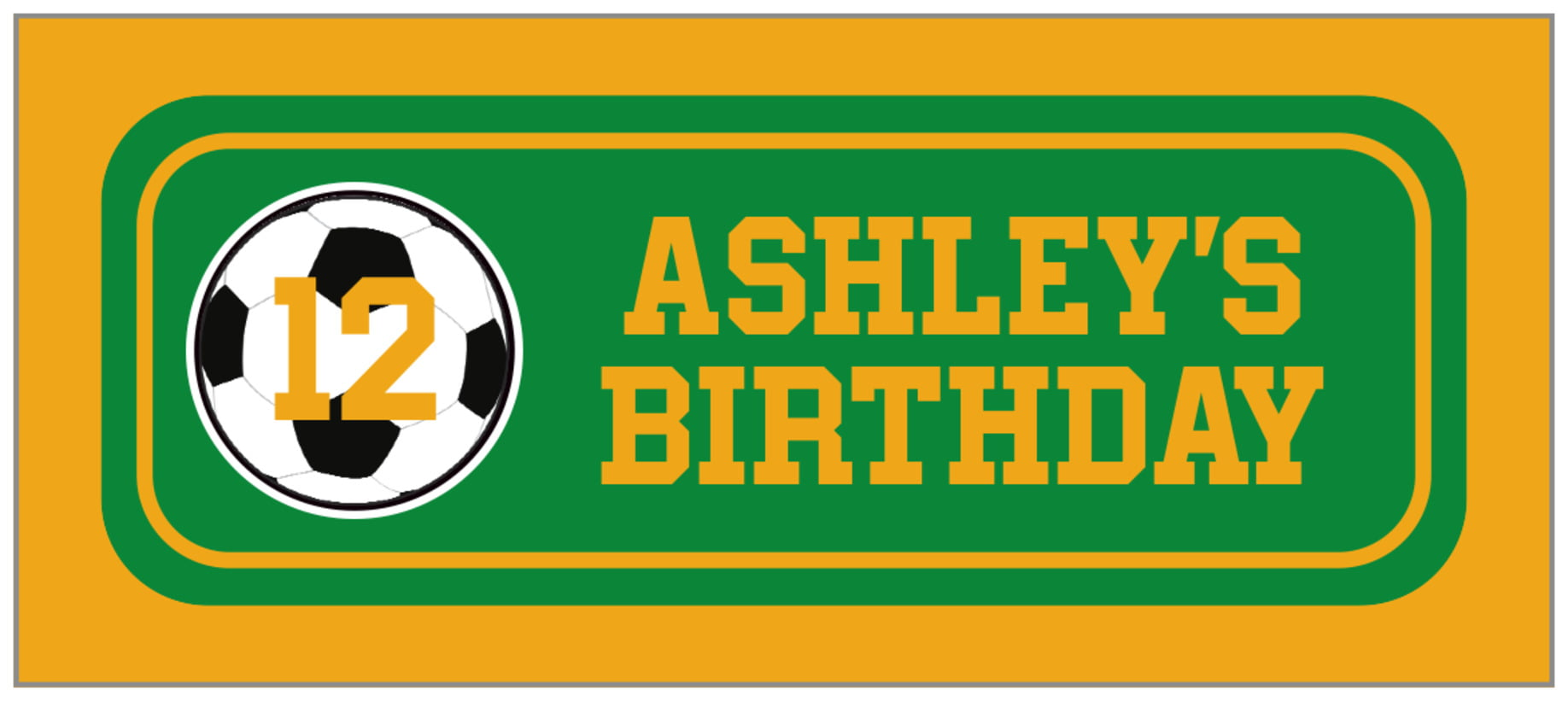 small rectangle food/craft labels - green & gold - soccer (set of 24)