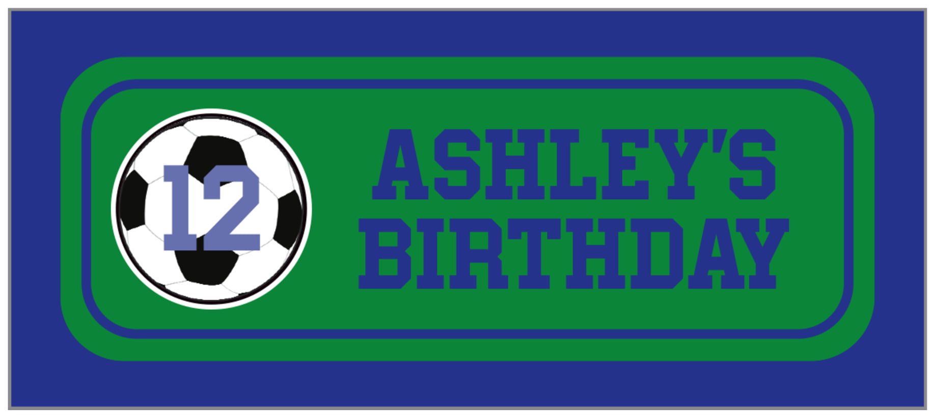small rectangle food/craft labels - green & royal - soccer (set of 24)