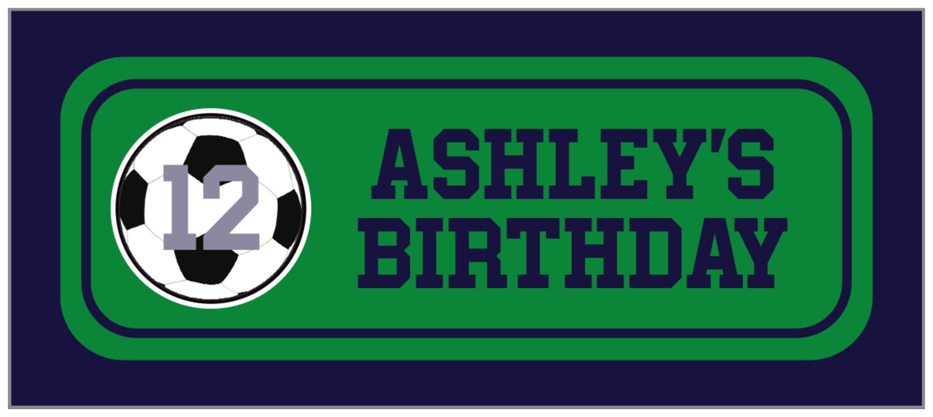 small rectangle food/craft labels - green & navy - soccer (set of 24)
