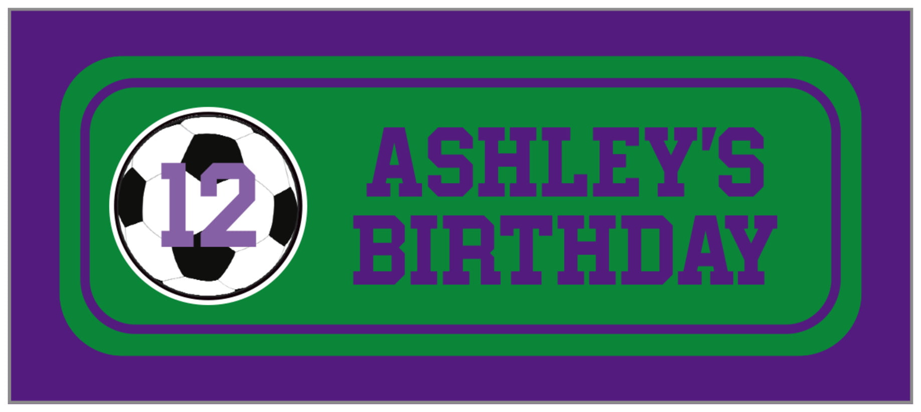 small rectangle food/craft labels - green & purple - soccer (set of 24)