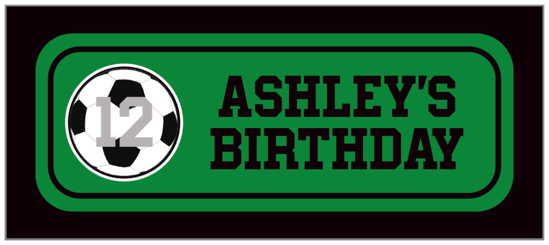 small rectangle food/craft labels - green & black - soccer (set of 24)