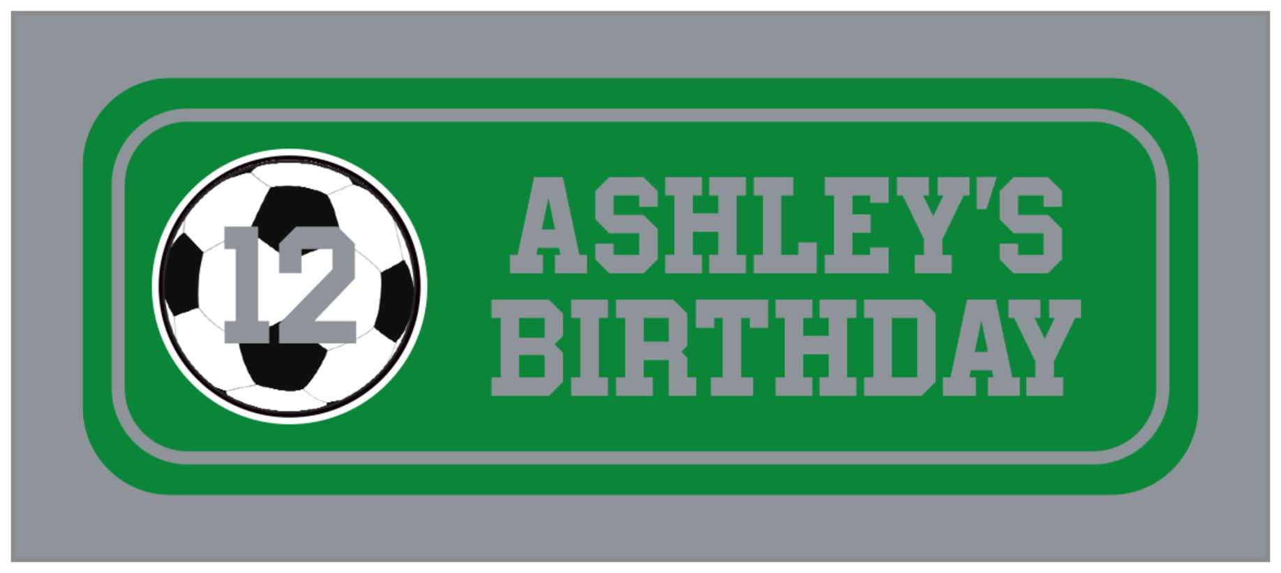 small rectangle food/craft labels - green & silver - soccer (set of 24)