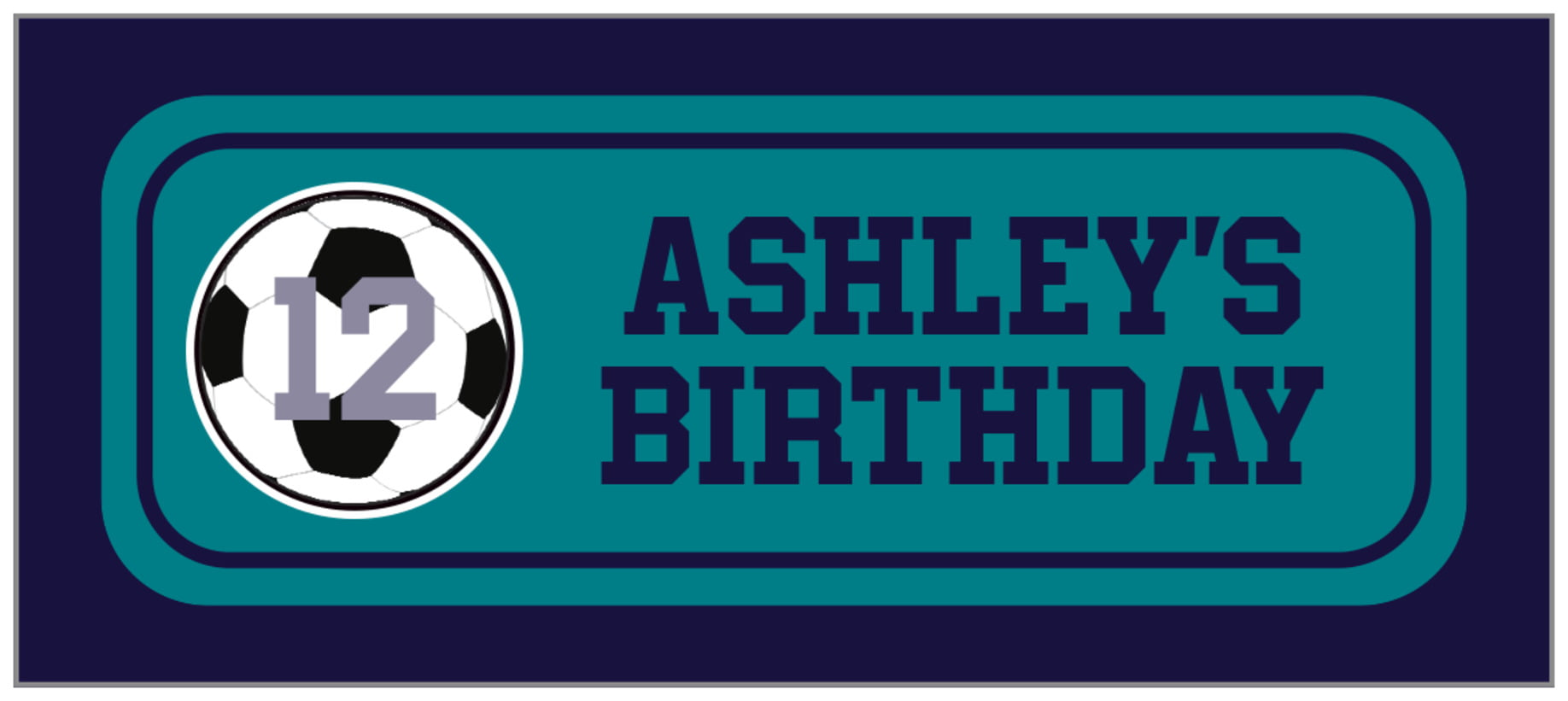 small rectangle food/craft labels - teal & navy - soccer (set of 24)