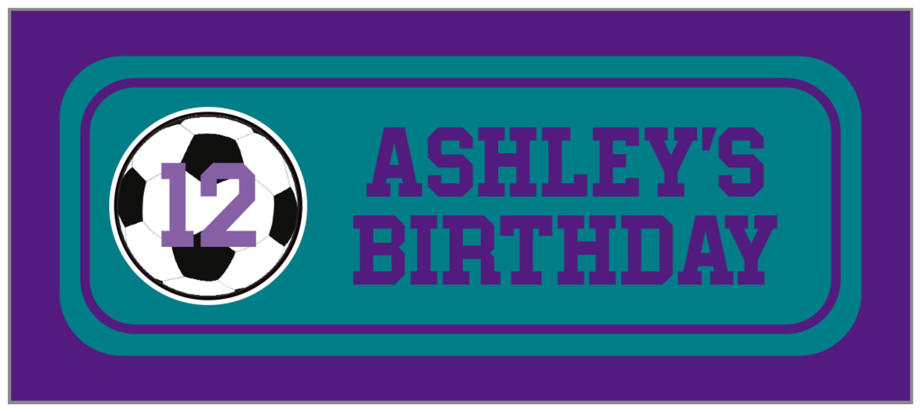 small rectangle food/craft labels - teal & purple - soccer (set of 24)