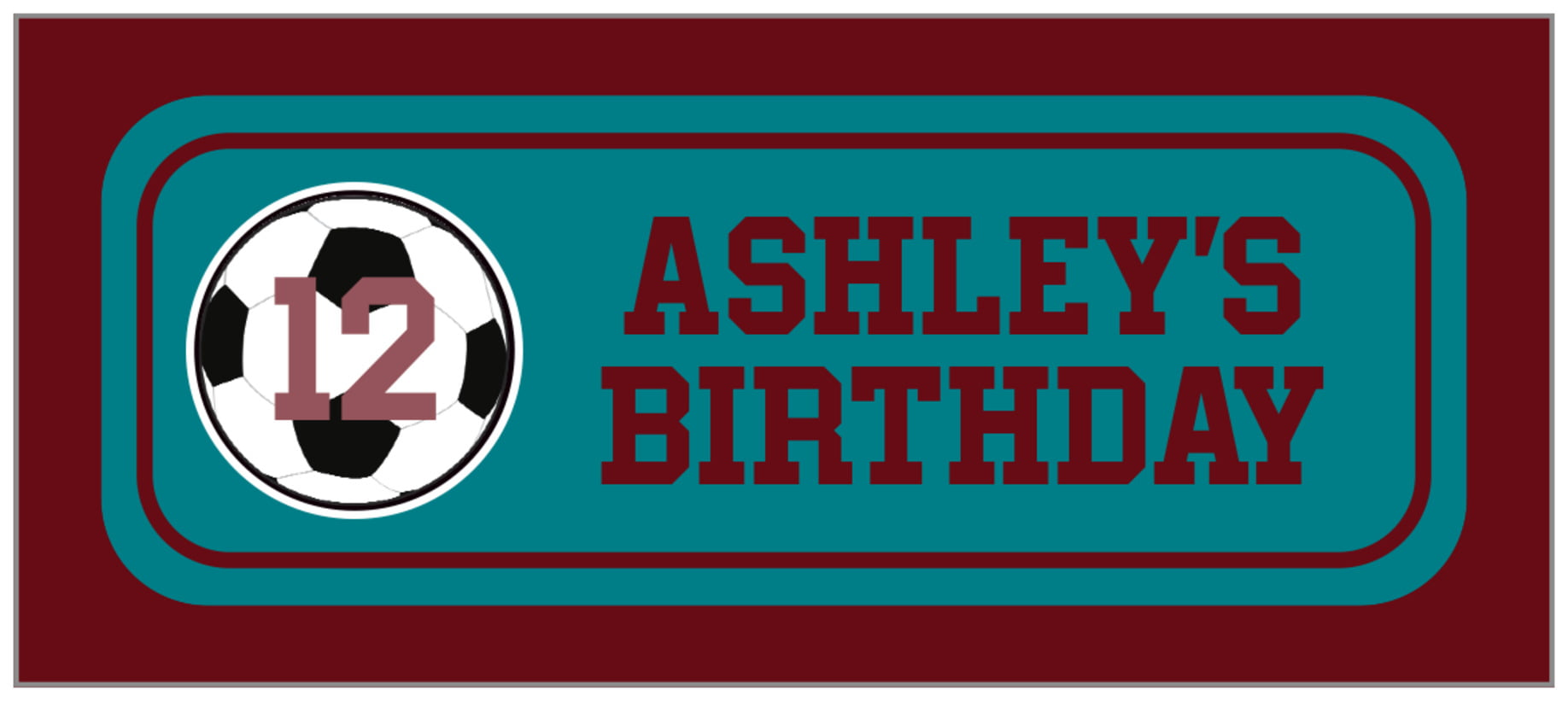 small rectangle food/craft labels - teal & maroon - soccer (set of 24)