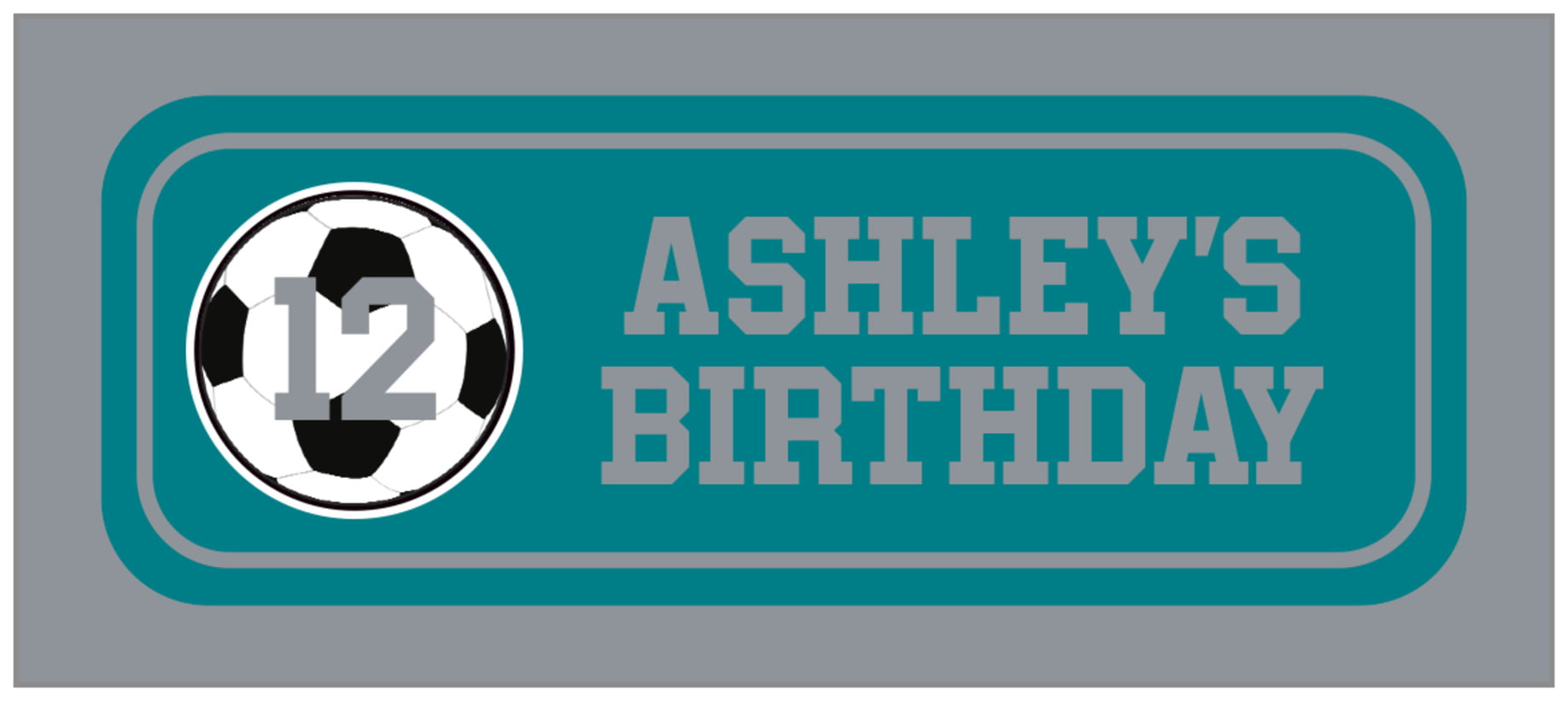 small rectangle food/craft labels - teal & silver - soccer (set of 24)