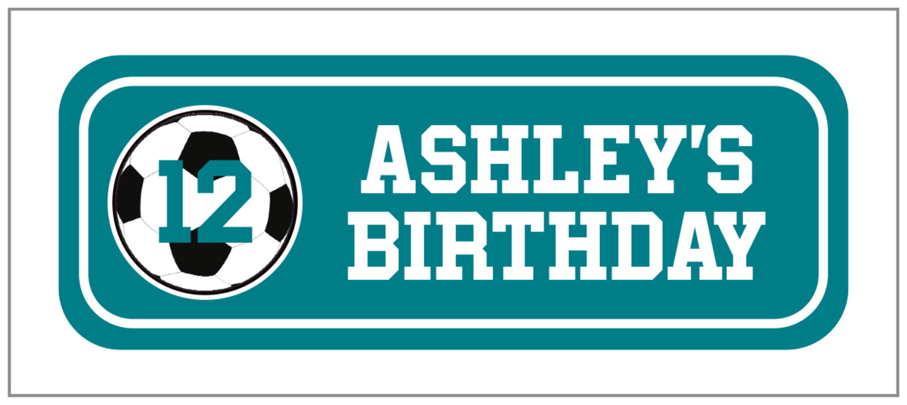 small rectangle food/craft labels - teal & white - soccer (set of 24)
