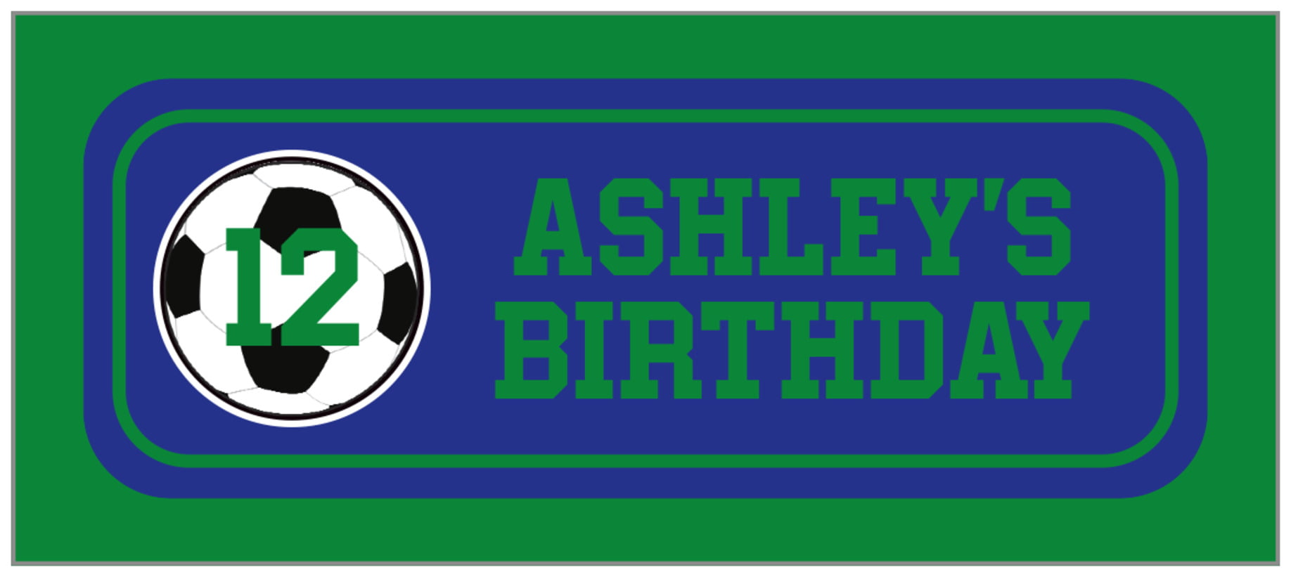 small rectangle food/craft labels - royal & green - soccer (set of 24)
