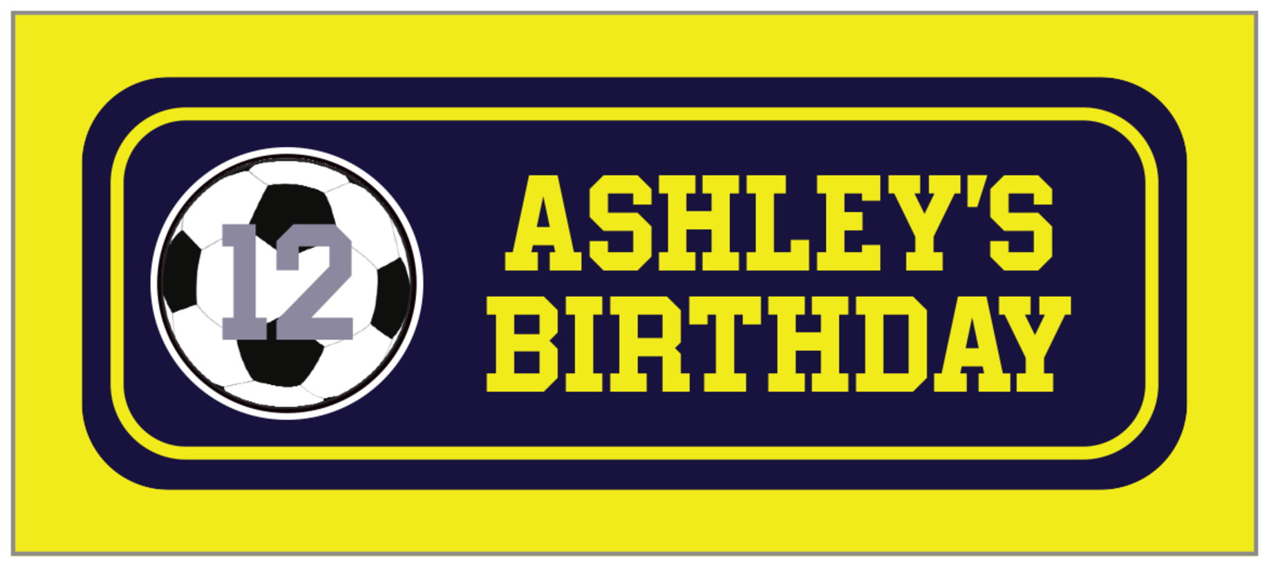 small rectangle food/craft labels - navy & yellow - soccer (set of 24)