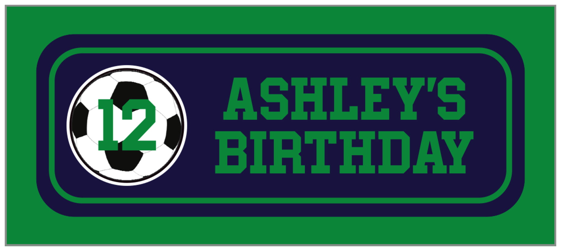 small rectangle food/craft labels - navy & green - soccer (set of 24)